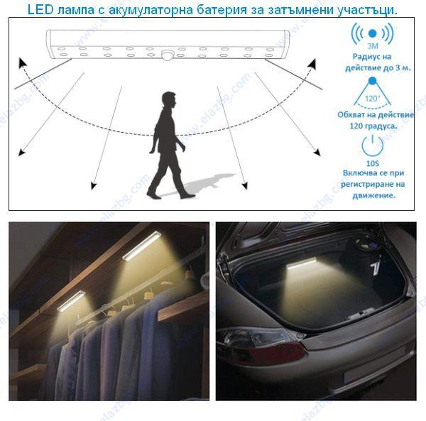LED лампа със сензор, акукулатора батерия и магнитна лента