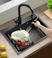 Неръждаемо телескопично кухненско легенче за отцеждане в мивка - черно